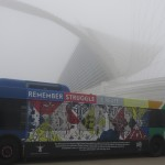 Collaborative Bus Mural: Remember Struggle Create Change (after Kandinsky)